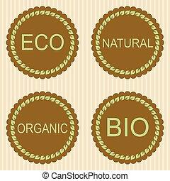 Eco labels with retro vintage design.