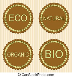 Eco labels with retro vintage design.