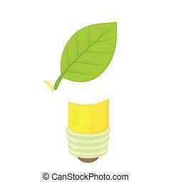Eco lamp icon, cartoon style