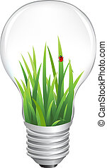 Eco Lamp With Grass