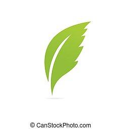 eco, leaf., 緑, アイコン