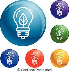 Eco leaf bulb icons set vector