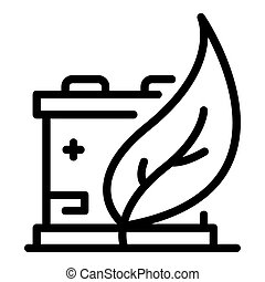 Eco leaf car battery icon, outline style