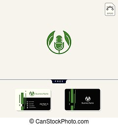 eco leaf podcast creative logo template vector illustration, get free business card design template