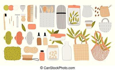 eco, leben, ohne, stil, plastic.