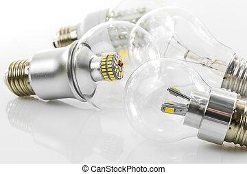 eco LED bulbs and classic tungsten bulb - various E27 eco...