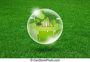 eco, lente, groene, fris, aarde, gras