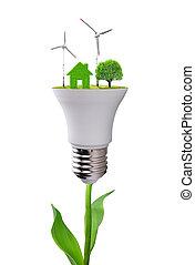 eco, leuchtdiode, glühlampe, auf, pflanze, freigestellt,...