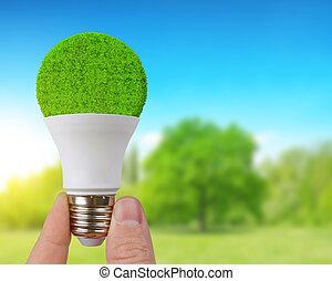 eco, leuchtdiode, zwiebel, in, hand.