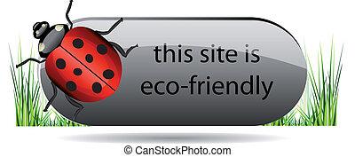 eco, lieveheersbeest, knoop, groene, grass.