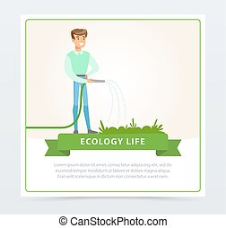 Eco life concept with man character watering plants
