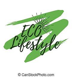 ECO Lifestyle label. Eco style and Wellness Life. Healthy Lifestyle badges. Vector illustration icon with Sunburst