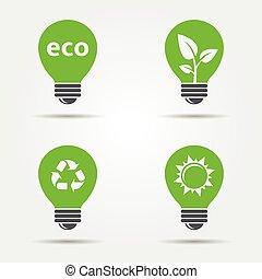 ECO light bulb icons set
