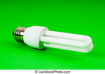 eco light bulb on green
