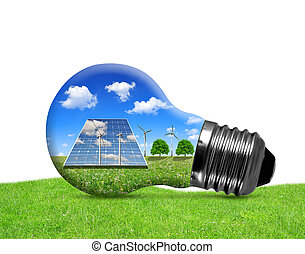 Solar panels and wind turbines in light bulb