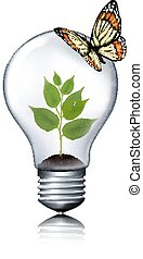 Eco light bulb with a butterfly.