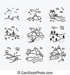 eco, ligne, vecteur, nature., icônes