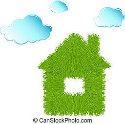 eco, limpio, casa, nubes