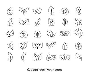 Eco, line, leaves icon set. Vector illustration.