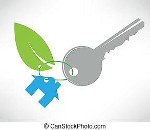 eco, llave de la casa, icono