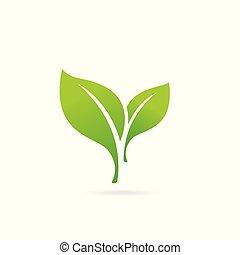 eco, logo., 緑の葉, bio, 要素, icon.