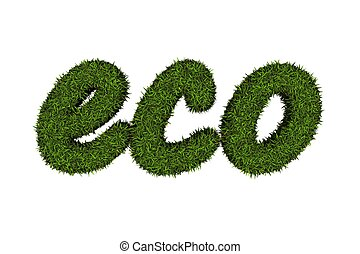 Eco logo covered with green grass.