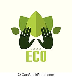 Eco logo, healthy organic food label, emblem for cafe, packaging, restaurant, farm products vector Illustration on a white background