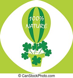 Eco logo, signs or labels.100% nature, Balloon with cloves