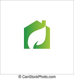 Eco Logo template. Medical Health care Logotype, leaf and house.