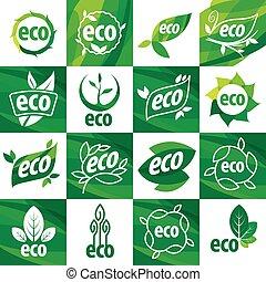 eco, logos, grand, ensemble, vecteur