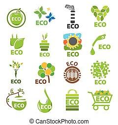 eco, logos, vektor, sammlung, größten