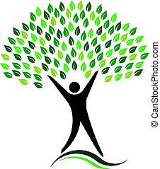 eco, logotipo, árbol, amistoso, hombre