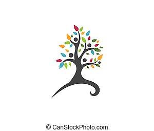 eco, logotipo, albero, sagoma