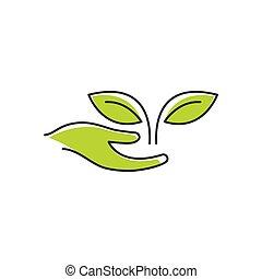 eco, logotipo, cuidado