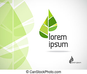 eco, logotipo, hoja