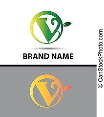 eco, logotipo, letra, v