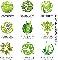 eco, logotipo, set, verde