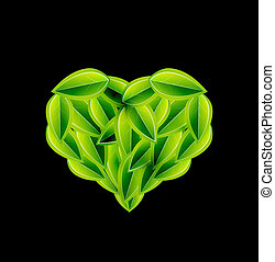 Eco love heart made of leaves. Vector environmental concept