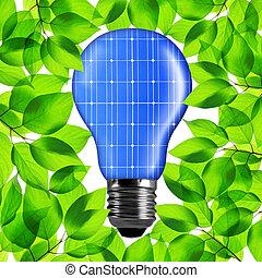 eco, luce, solare, panel., bulbo