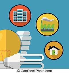 eco, lumière, énergie, usine, ampoule, maison