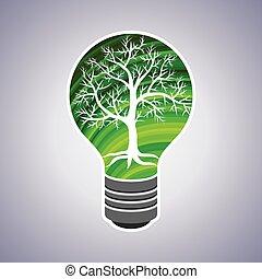 eco, lumière, concept, vert, ampoule