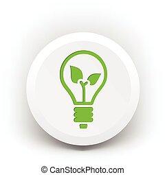 eco, luz, emblema, verde, bulbo