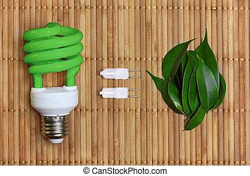 eco, luz, energía, concepto, bombilla