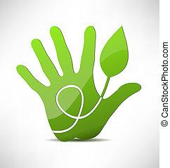 eco, mão, verde