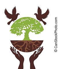 eco, mão., vetorial, árvore, pássaro