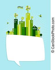 eco, média, parole, social, vert, bulle