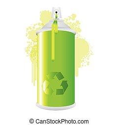 eco, métal, peinture, pulvérisation, aérosol, fumée, vert