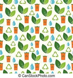 eco, mönster, seamless, ikon