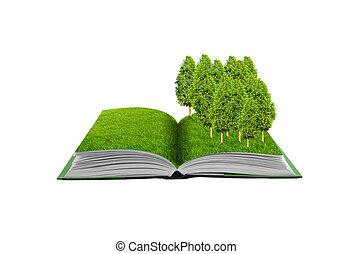eco, mały, idea, pole, konceptualny, zielona trawa, treel