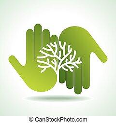 eco, mains, amical, arbre